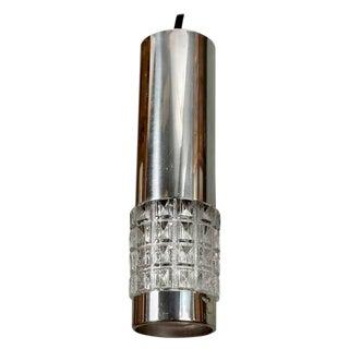 Mid-Century Chrome and Molded Glass Pendant Light