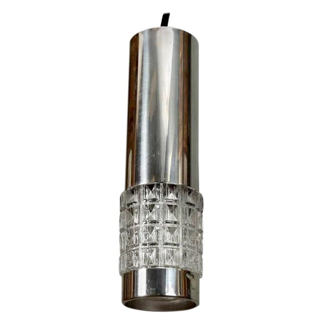 Mid-Century Chrome and Molded Glass Pendant Light For Sale