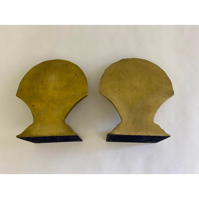 1970s Brass Finished Scallop Shell Bookends- a Pair For Sale - Image 5 of 7