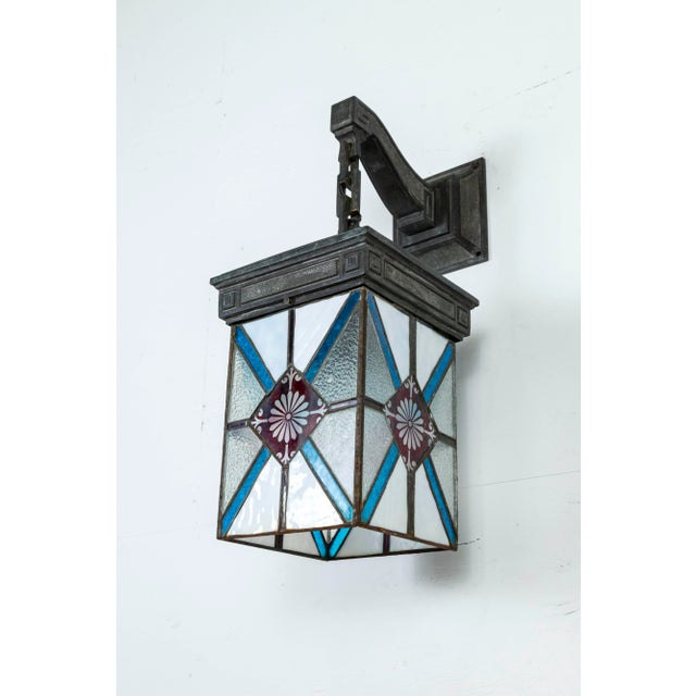 Blue, White & Deep Red Stained Glass & Bronze Lantern Sconce For Sale - Image 11 of 12