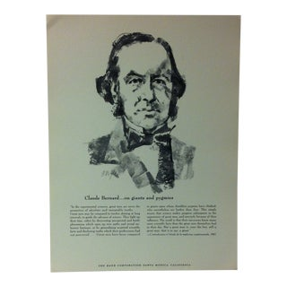 """1962 """"Claude Bernard - on Giants and Pygmies"""" The Rand Corporation Famous People in History Print For Sale"""