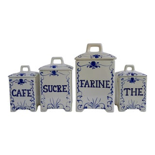 Vintage French Script Canisters - Set of 4