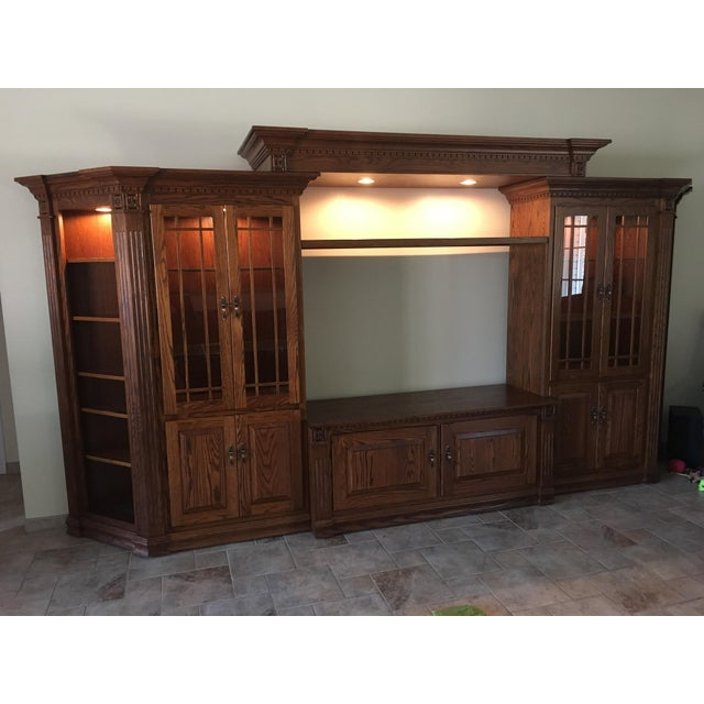 Amish Lighted 5-Piece Wall Unit - Image 5 of 11