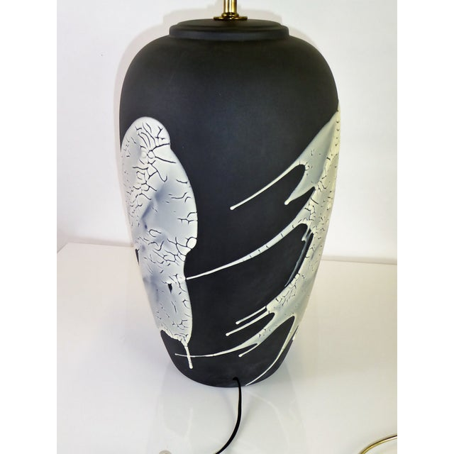 Brass 1960s Black N White Lava Glaze Pottery Table Lamp For Sale - Image 7 of 12