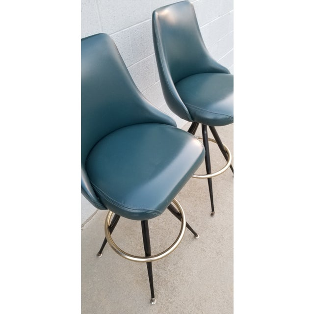 Mid-Century Brass & Leatherette Swivel Bar Stools - a Pair For Sale - Image 9 of 10