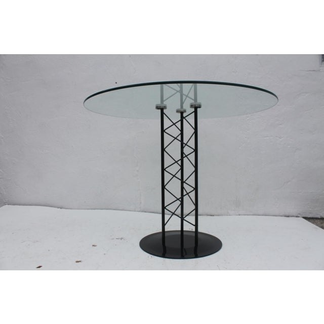 Black Italian Sculptural Pedestal Base Round Dining Table For Sale - Image 8 of 8