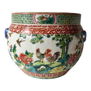 "Antique 13""Chinese Famille Vert Planter For Sale"