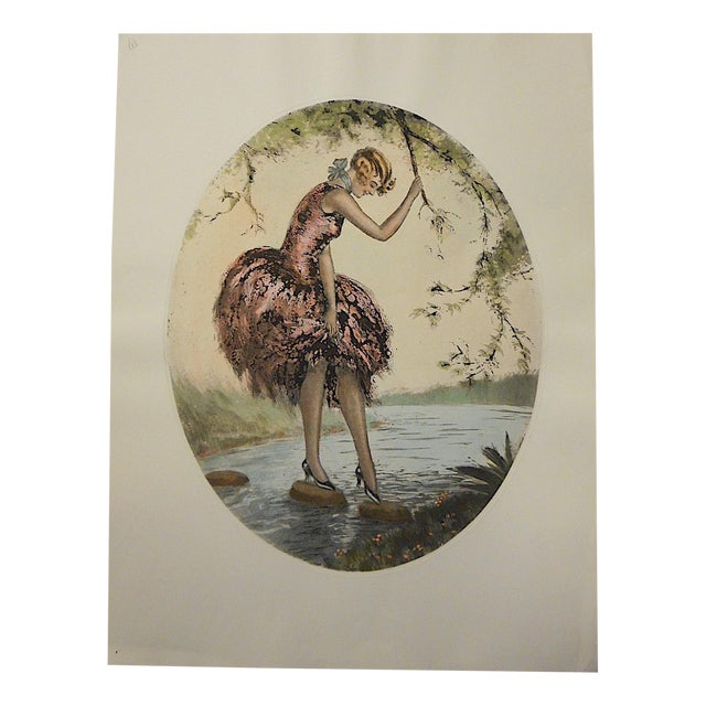 Vintage Hand Colored Engraving of a Young Woman For Sale