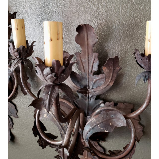 Bronze Vintage 1960s French Large Floral Sconces - a Pair For Sale - Image 8 of 13