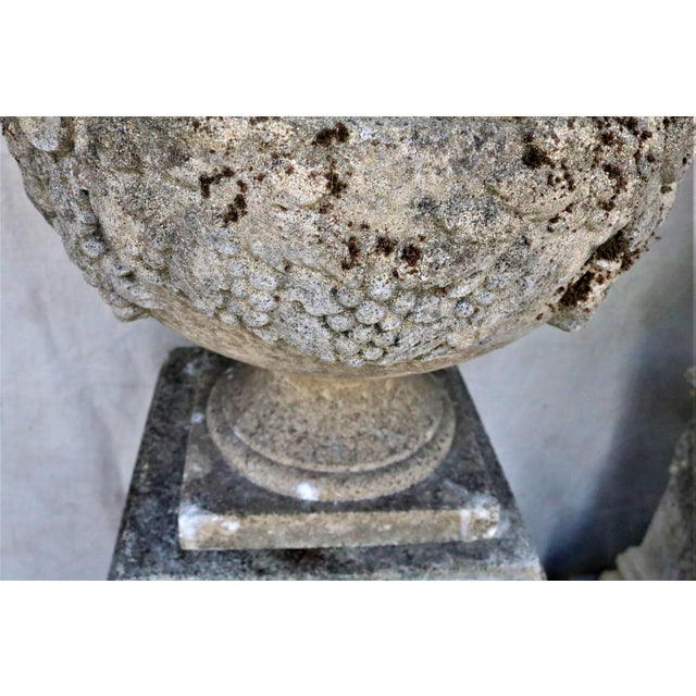 Early 20th Century English Cast Stone Urns on Bases W/ Grape Motif, Set of 4 For Sale - Image 6 of 7