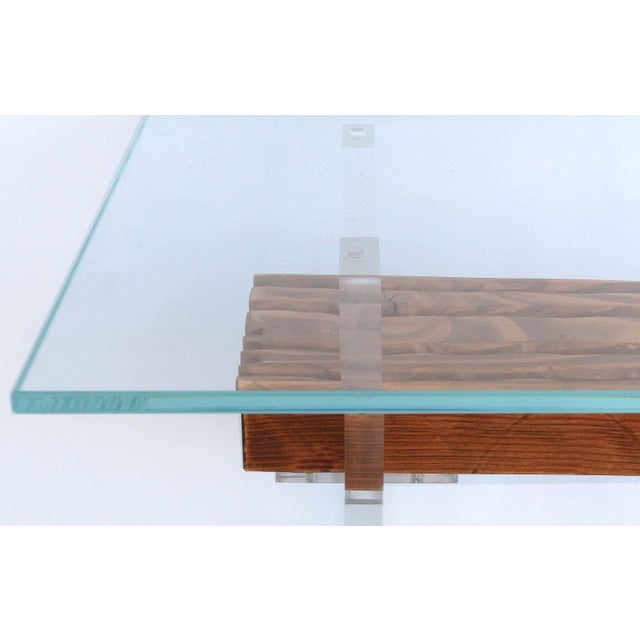 Lucite, Wood and Glass Side Table For Sale - Image 4 of 7
