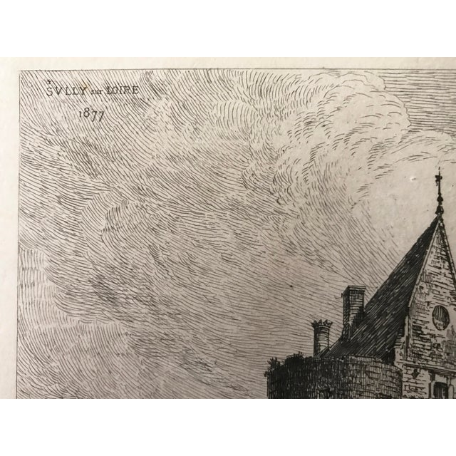 Late 19th Century 1877 French Chateau Sully-Sur-Loire Castle Etching For Sale - Image 5 of 5