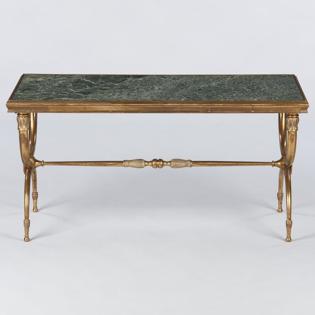 French Mid-Century Brass and Marble Coffee Table For Sale - Image 4 of 13