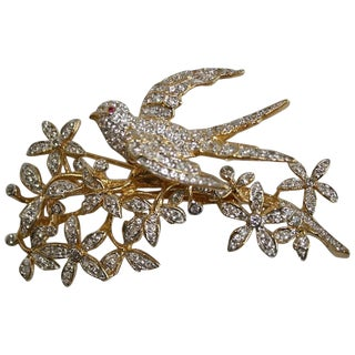 Tremblant Bird Brooch in White Topaz With Ruby Eye For Sale