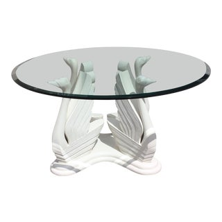 Mid-Century Modern Wood Swan Ivory Finish Round Dining Table or Center Table Glass Top For Sale