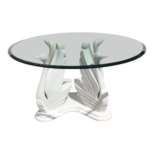 MidCentury Modern Wood Swan Ivory Finish Round Dining Table Or - Mid century modern glass top dining table