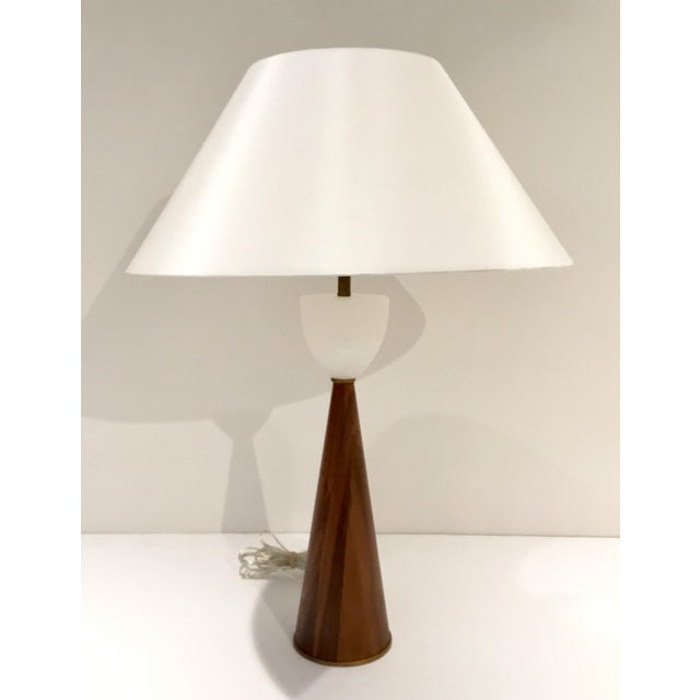 Elegant Arteriors Mid-Century Modern Style Walnut and Marble Stanford Table Lamp, walnut body topped with white marble,...