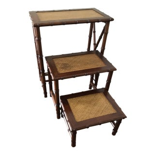 Faux Bamboo Collapsing Nesting Tables - Set of 3