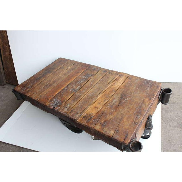 Industrial Early 20th C. Vintage American Industrial Cart Coffee Table For Sale - Image 3 of 5