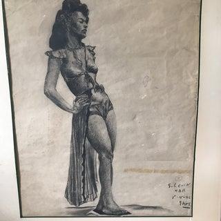 Vintage Charcoal Portrait of Woman Preview