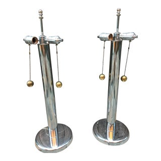 Vintage George Kovacs Chrome Table Lamps With Ball Pulls - a Pair