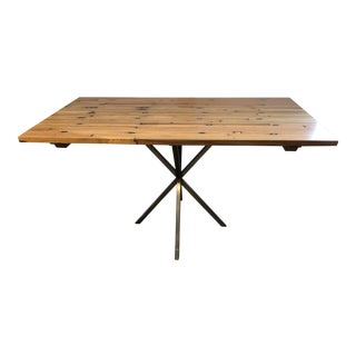 Industrial Olde Good Things Flooring and Stainless Steel Dining Table or Writing Desk For Sale