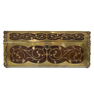 19th Century Antique English Arts and Crafts Style Mahogany Cigar Humidor With Brass Inlaiy Preview