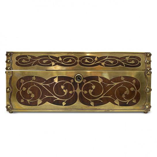 See our antique 19th century English Arts and Crafts period cigar humidor made out of mahogany and ornate inlaid brass,...