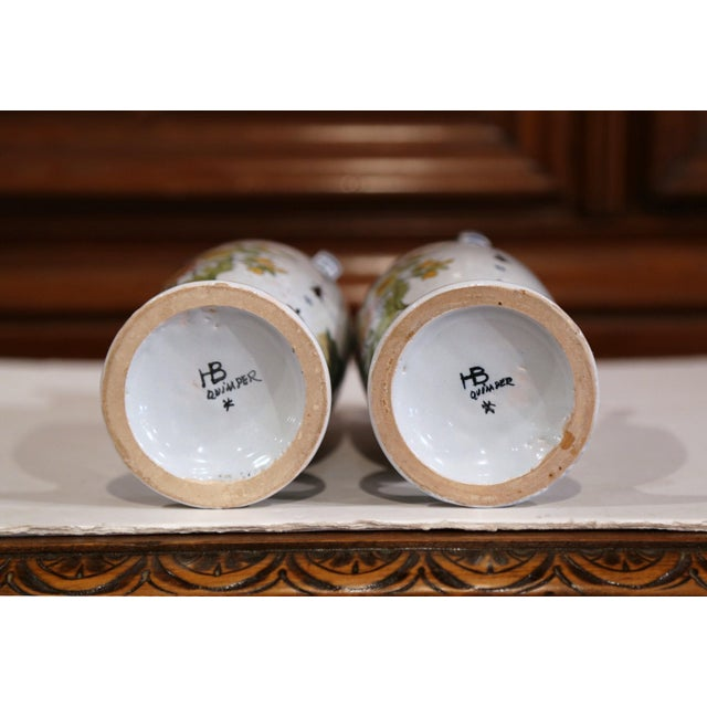 19th Century French Hand-Painted Brittany Vases Signed HB Quimper - a Pair For Sale - Image 11 of 13