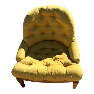 Grand Rapids Chair Co. Gold Tufted Barrel Back Arm Chairs - a Pair For Sale