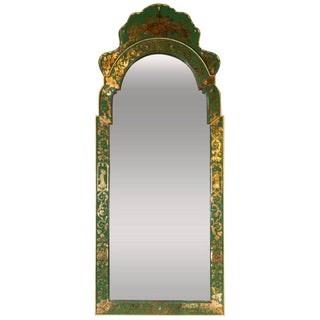 Mid-Century Modern Emerald Reverse Églomisé Mirror With Gilt Detailing For Sale