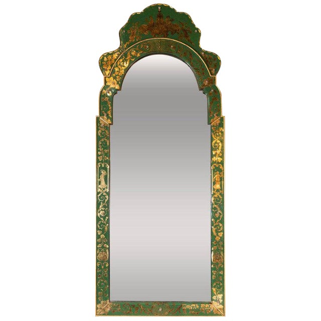 Mid-Century Modern Emerald Reverse Églomisé Mirror With Gilt Detailing For Sale