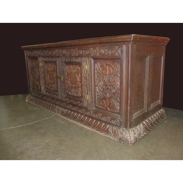 Antique European Detailed and Highly Carved Sideboard With Key - Image 4 of 10