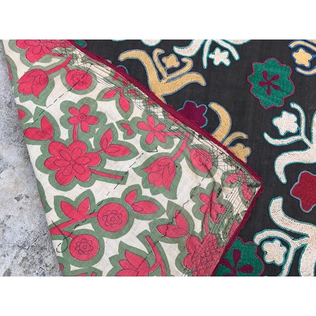 Dark Gray Floral Pattern Antique Suzani Textile - Image 6 of 6