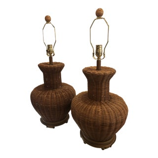 Vintage Ginger Jar Oversized Wicker Table Lamps, Restored - A Pair For Sale