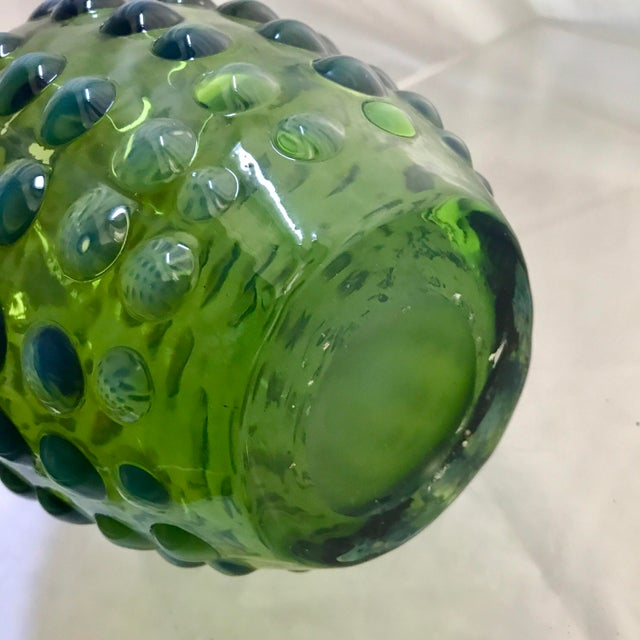 Hand Blown Green & White Opalescent Hobnail Vases - A Pair - Image 5 of 5