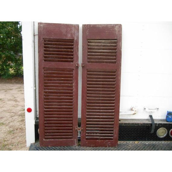 Primitive Red Shutters - A Pair For Sale - Image 4 of 6