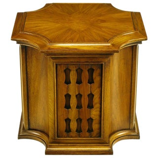Neo-Gothic Reverse Quatrefoil Figured Walnut End Table W/Cabinet For Sale