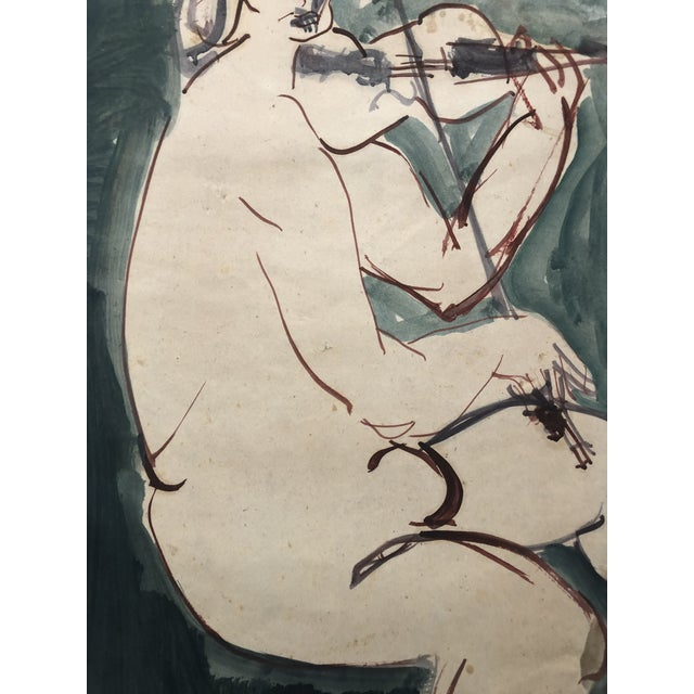 1960s Mid-Century Female Nude With Violin Watercolor 1960s For Sale - Image 5 of 12