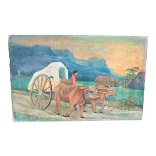 Antique Primitive Folk Art Painting of Pair of Oxen Pulling Wagon For Sale