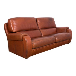 1970s French Brown Leather Sofa For Sale