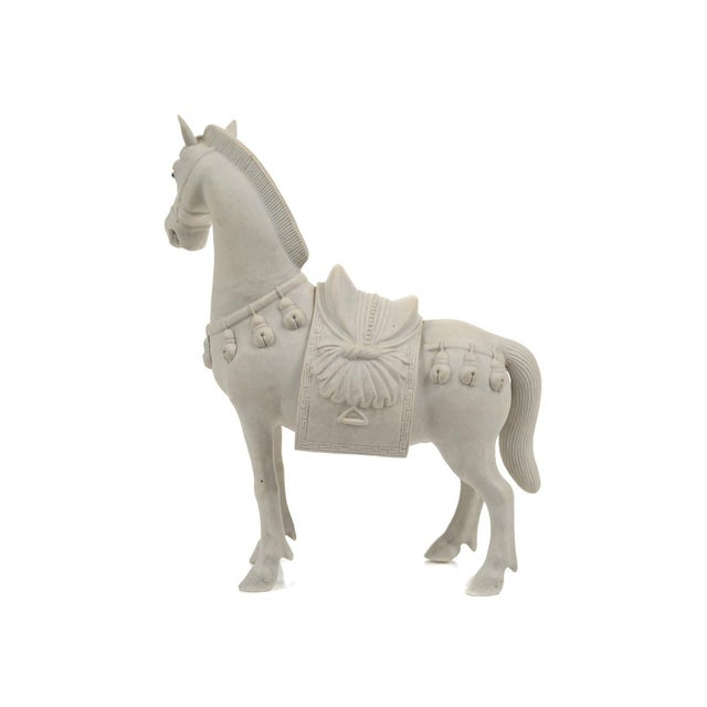 Ceramic Rare Chinese Bisque Porcelain Horse Figurines - 2 For Sale - Image 7 of 9