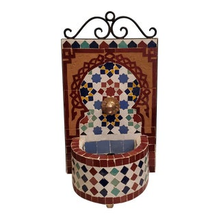 Miniature Multicolor Moroccan Mosaic Fountain For Sale