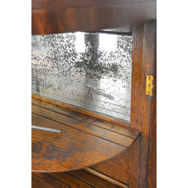 Unusual Antique Oak Bow Glass Small Victorian China Cabinet For Sale - Image 11 of 13