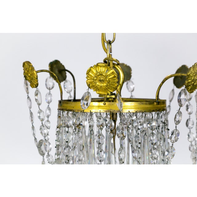 1920s Regency Tent and Bag Crystal Brass Chandelier For Sale - Image 9 of 11