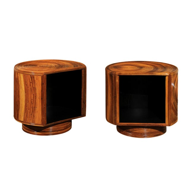 Chic Restored Pair of Swivel Bamboo and Black Lacquer End Tables, Circa 1975 For Sale - Image 13 of 13
