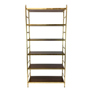 Lilian August for Hickory White Brass and Wood Mid-Century Modern Style Etagere For Sale