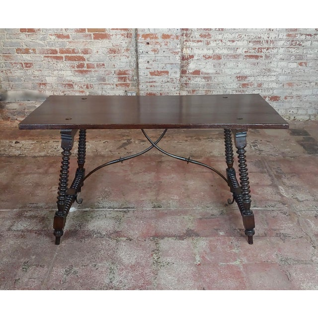 Spanish 20th Century Spanish Revival Walnut Table With Iron Stretcher Bars For Sale - Image 3 of 12