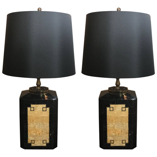 1980s Mid-Century Modern Tessellated Stone Inlaid Lamps - a Pair For Sale