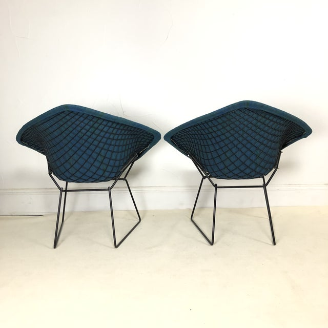 Danish Modern Harry Bertoia Diamond Chair for Knoll / Girard Fabric -A Pair For Sale - Image 3 of 10